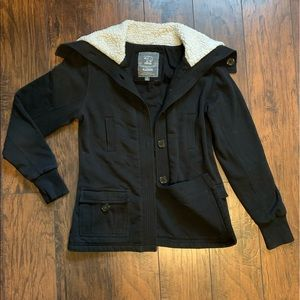 Cocoa Platinum Black Coat with Sherpa Collar